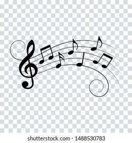 Music notes, waves with swirls, vector illustration.