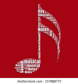 Music notes Word cloud typography text word art vector illustration