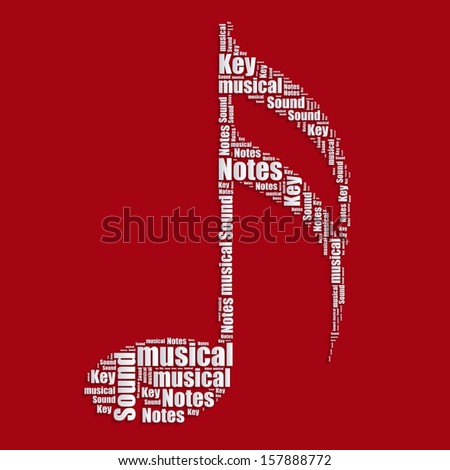 Music Notes Word Cloud Typography Text Stock Vector Royalty Free