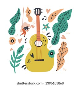 Music obsession metaphor flat illustration. Cartoon girl near huge guitar hand drawn character. Scandinavian style decorative leaves, flowers. Music festival promo banner, poster design element