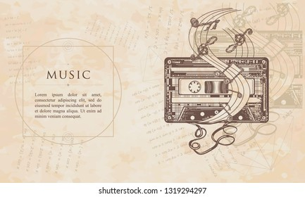 Music. Old audio cassette and music notes. Renaissance background. Medieval manuscript, engraving art