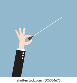 music orchestra conductor hand with baton, leadership concept. vector illustration
