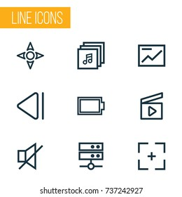 Music Outline Icons Set. Collection Of Cinema Clap, Mute, Target And Other Elements. Also Includes Symbols Such As Slideshow, Full, Albums.