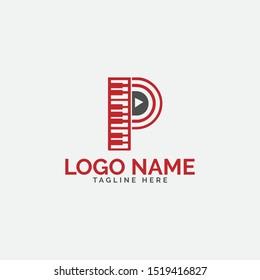 Music p letter logo vector