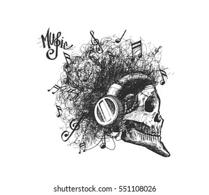 Music Party background. Skull listens to music. Hand Drawn Skech Vector Background.