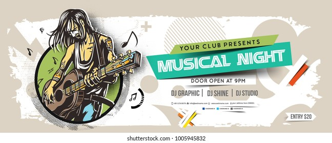Music party Banner, flyer, magazine cover & poster template, vector illustration.