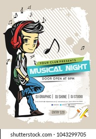 Music party brochure, flyer, magazine cover & poster template, vector illustration.