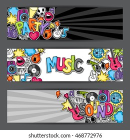 Music party kawaii banners. Musical instruments, symbols and objects in cartoon style.