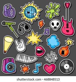 Music party kawaii sticker set. Musical instruments, symbols and objects in cartoon style.