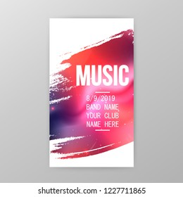 Music party poster, party flyer template vector illustration. Music party promotional banner, brochure, invitation card design