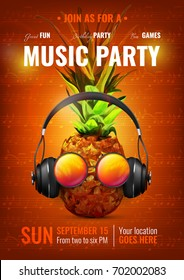 Music party poster with pineapple in realistic headphones, glasses on dark red background with notes vector illustration