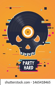 Music party poster with skull and vinyl record. Hip-hop festival banner. Rap vector emblem.