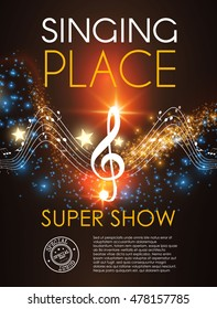 Music Party Poster. Super Show Design. Concert Flyer with Notes and Bokeh Lights. Vector illustration