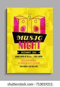 Music Party Template, Party Flyer, Party Banner or Club Invitation presentation with date and place details in yellow and pink colors.