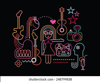 Music party vector illustration. Neon light silhouettes on black background.