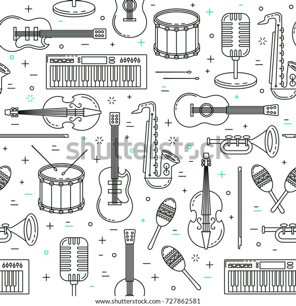 Music pattern, seamless vector design with guitar, violin and trumpet