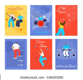 Music People Festival Cards Set. Hard Bits, Dancing, Jazz Music, Hip Hop, Drive Song, Acoustic Band Flayers. Man Woman Playing Musical Instruments, Singing. Advertising Flat Design Vector Illustration