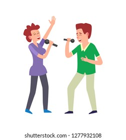 Music performance by duo, couple man and woman vector. People singing, adults holding microphones expressing emotions. Vocals vocalists singers together