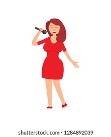 Music performance, lady holding mike in hands vector. Concert performer dressed in red clothes, woman singing at karaoke club, vocalist female with mic