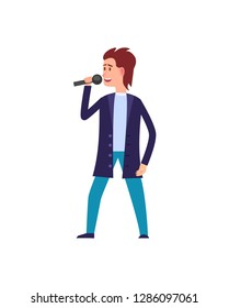 Music performance, male singer wearing suit isolated vector. Man in formal wear singing, moving dancing character with microphone, person vocalist