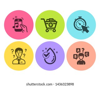 Music phone, Water drop and Support consultant icons simple set. Timer, Add products and Quiz test signs. Radio sound, Clean aqua. Business set. Flat music phone icon. Circle button. Vector