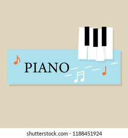 Music Piano Keyboard With Notes Poster Background Template Vector