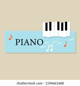 Music piano keyboard with Notes. Poster background template. Music Vector Background.