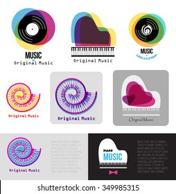 Music piano logo. Jazz logo. Vinyl records sign logotype. Music keys in the spiral. Color music template. Music Brand template. Business card printable template. Musical instrument logo. Retro music