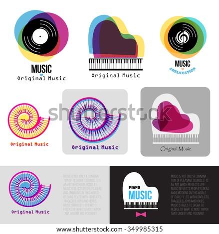 music piano logo jazz logo vinyl stock vector royalty free