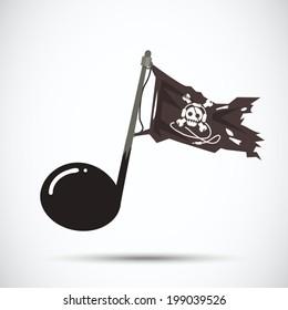 music pirate. piracy - vector illustration