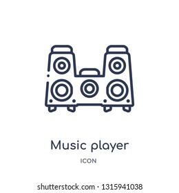 music player big speaker icon from technology outline collection. Thin line music player big speaker icon isolated on white background.