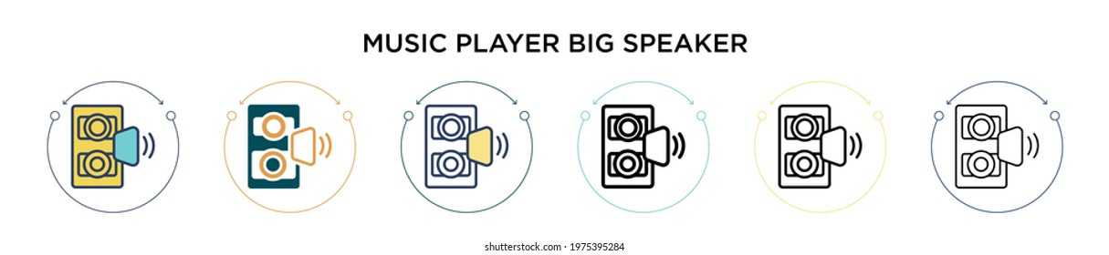 Music player big speaker icon in filled, thin line, outline and stroke style. Vector illustration of two colored and black music player big speaker vector icons designs can be used for mobile, ui,