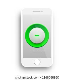 music player botton on mobile phone vector