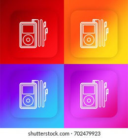 Music player four color gradient app icon set