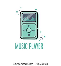Music player icon for web and mobile apps. Vector illustration.