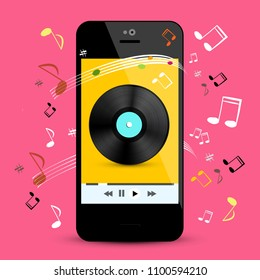 Music Player on Smartphone with LP Disc and Notes on Pink Background. Vector Pop Music Playlist on Cell Phone Application Symbol.
