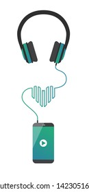 Music player on the smartphone plays favorite music songs. Phone connected to the earphones and cord forms heart. Applicable for banners and for music festival advertisement