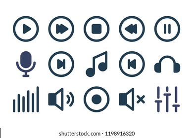 Music player related icon set. Buttons for music application. Vector icons.