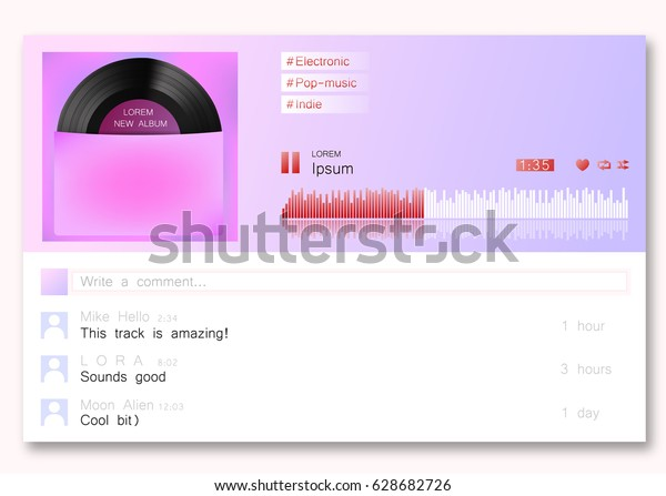 Music Player Template Web Site Design Stock Vector (Royalty Free
