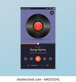 Music Player UI app design, vector illustration smartphone screen