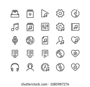Music player ui related icon set in outline style