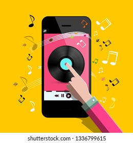 Music Player Vector Flat Design Symbol with Vinyl Icon on Phone Screen and Hand. Notes on Background