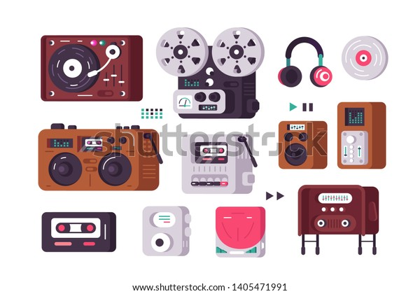 Music Players Set Vector Illustration Collection Stock