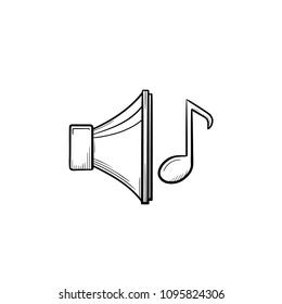 Music playing hand drawn outline doodle icon. Loudspeaker with note as ringtone choice concept vector sketch illustration for print, web, mobile and infographics isolated on white background.
