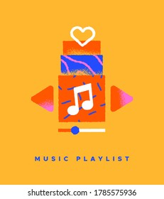 Music playlist colorful flat icon illustration on isolated background. Song streaming app or musical player interface concept in trendy hand drawn cartoon style.