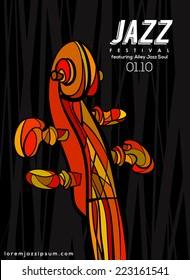 Music Poster background template. Vector violin neck illustration.