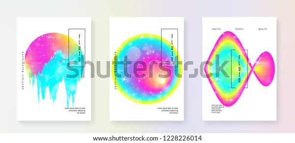 Music Poster Cool Invitation Layout Set Stock Vector