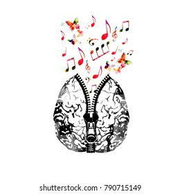Music poster design with human brain with zipper and colorful music notes. Creativity concept with music notes