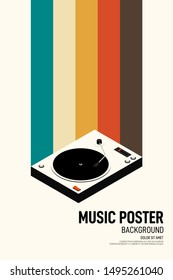 Music poster design template background with phonograph record vintage retro style. Graphic design element can be used for backdrop, banner, brochure, leaflet, publication, vector illustration