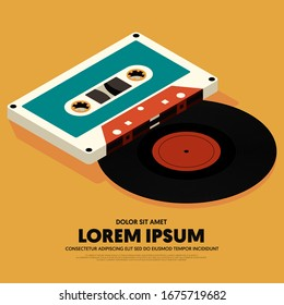 Music poster design template background with isometric vinyl record and cassette tape modern vintage retro style. Applicable to banner, brochure, publication, vector illustration